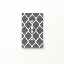 Charcoal Gray and White Chic Moroccan Lattice Light Switch Cover
