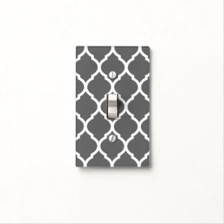 Nursery light switch covers zazzle charcoal gray and white chic moroccan lattice light switch cover sciox Gallery