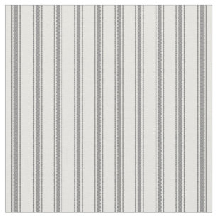 Charcoal Gray And White Clic Ticking Stripes Fabric