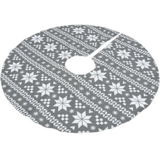 Charcoal Gray and White Fair Isle Pattern Brushed Polyester Tree Skirt