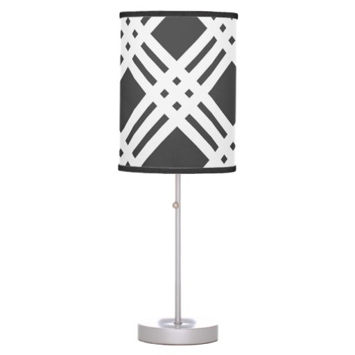 Charcoal Gray And White Gingham Table Lamp