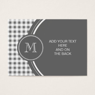 Charcoal Gray and White Gingham, Your Monogram Business Card