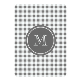 """Charcoal Gray and White Gingham, Your Monogram 4.5"""" X 6.25"""" Invitation Card"""