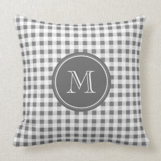 Charcoal Gray and White Gingham, Your Monogram Pillow