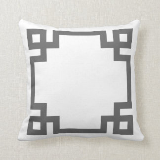 Charcoal Gray and White Greek Key Border Throw Pillow