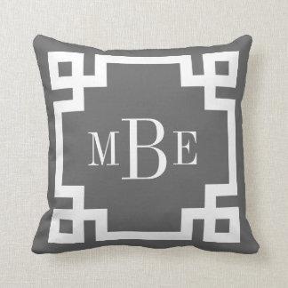 Charcoal Gray and White Greek Key Monogram Throw Pillow