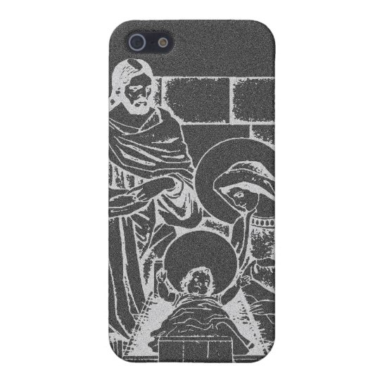 Charcoal Gray and White Nativity Scene Cover For iPhone SE/5/5s