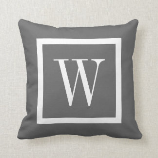 Charcoal Gray and White Preppy Square Monogram Throw Pillow