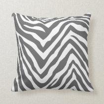 Charcoal Gray and White Zebra Print Throw Pillow