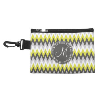 CHARCOAL GRAY AND YELLOW CHEVRON ACCESSORIES BAGS
