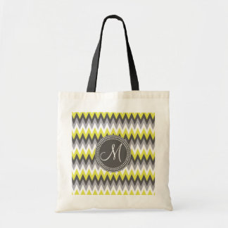 CHARCOAL GRAY AND YELLOW CHEVRON CANVAS BAGS
