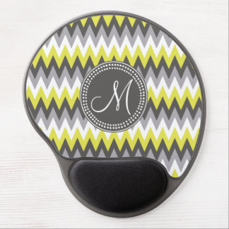 CHARCOAL GRAY AND YELLOW CHEVRON GEL MOUSE MATS