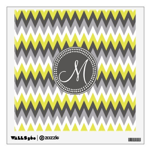 CHARCOAL GRAY AND YELLOW CHEVRON ROOM DECAL