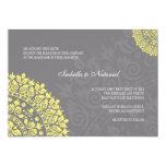 Charcoal Gray and Yellow Damask Wedding Invitation