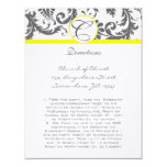 "Charcoal Gray and Yellow Enclosure Cards 4.25"" X 5.5"" Invitation Card"