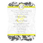 Charcoal Gray and Yellow Wedding Invitations