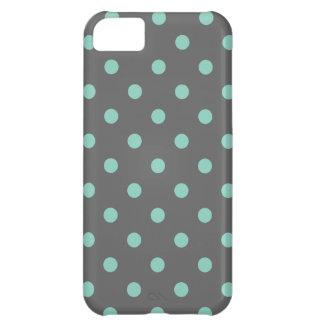 Charcoal Gray Aqua Cute Modern Polka Dots iPhone 5C Case