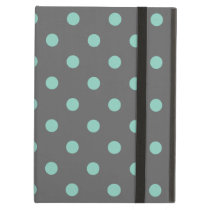 Charcoal Gray & Aqua Cute Modern Polka Dots iPad Air Cover