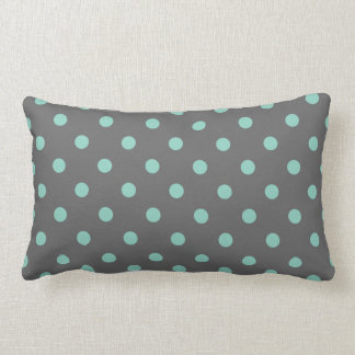 Charcoal Gray & Aqua Cute Modern Polka Dots Lumbar Pillow