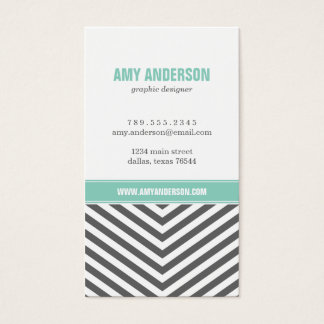 Charcoal Gray & Aqua Modern Chevron Stripes Business Card