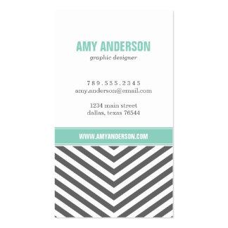 Charcoal Gray Aqua Modern Chevron Stripes Business Card