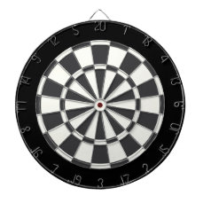 Charcoal Gray Black And White Dartboard With Darts