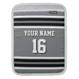 Charcoal Gray Black Team Jersey Custom Number Name Sleeve For iPads