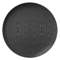 Charcoal Gray/Black Tribal Pattern Melamine Plate