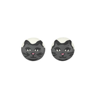 CHARCOAL GRAY CAT With Black Whiskers Earrings