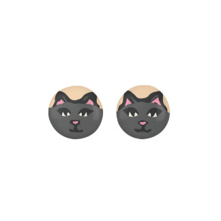 CHARCOAL GRAY CAT With Pink Ears Earrings