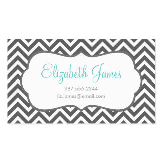 Charcoal Gray Chevron Business Card
