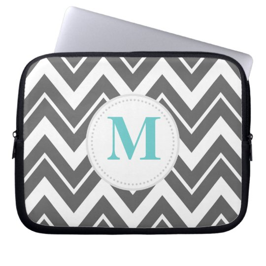 Charcoal Gray Chevron Custom Monogram Computer Sleeve