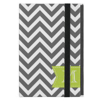 Charcoal Gray Chevron Custom Monogram iPad Mini Case