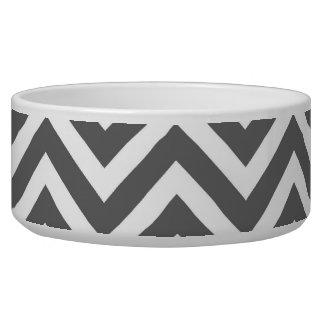 Charcoal Gray Chevron Dog Water Bowl