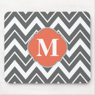 Charcoal Gray Chevron Mouse Pad