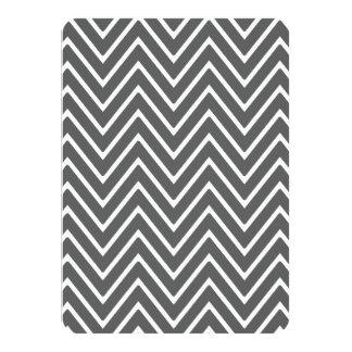 "Charcoal Gray Chevron Pattern 2 4.5"" X 6.25"" Invitation Card"