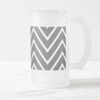 Charcoal Gray Chevron Pattern 2 Beer Mug