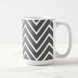 Charcoal Gray Chevron Pattern 2 Mugs
