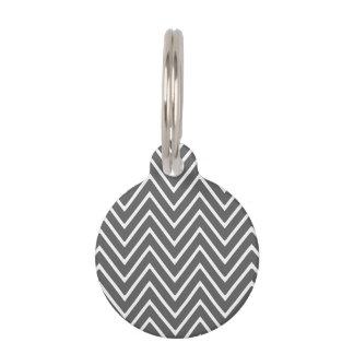 Charcoal Gray Chevron Pattern 2 Pet Name Tag