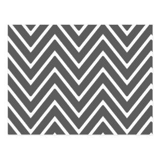 Charcoal Gray Chevron Pattern 2 Postcard