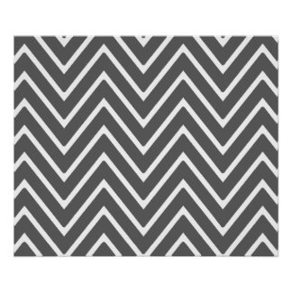 Charcoal Gray Chevron Pattern 2 Print