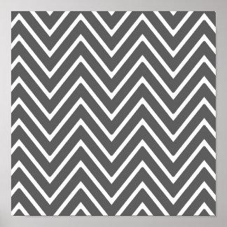 Charcoal Gray Chevron Pattern 2 Posters
