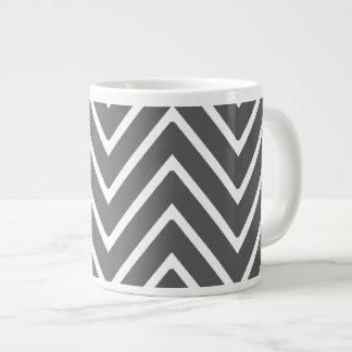 Charcoal Gray Chevron Pattern 2 Jumbo Mugs