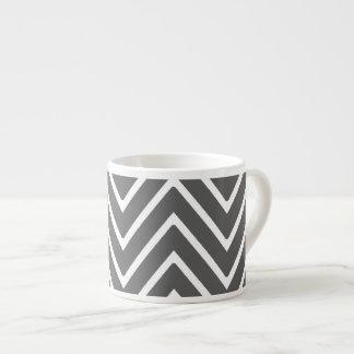 Charcoal Gray Chevron Pattern 2 Espresso Cup