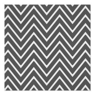 Charcoal Gray Chevron Pattern 2 Perfect Poster