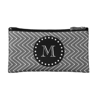 Charcoal Gray Chevron Pattern | Black Monogram Makeup Bags