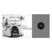 Charcoal Gray Chevron Pattern | Black Monogram Card
