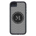 Charcoal Gray Chevron Pattern | Black Monogram iPhone 5/5S Case