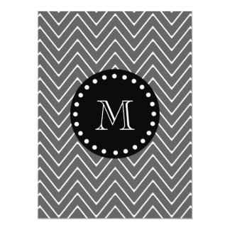 Charcoal Gray Chevron Pattern | Black Monogram 6.5x8.75 Paper Invitation Card