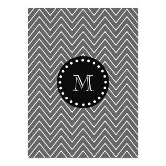 Charcoal Gray Chevron Pattern | Black Monogram 5.5x7.5 Paper Invitation Card